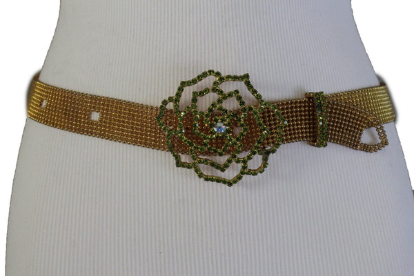 Antique Rusty Gold Metal Belt Purple Pink Blue Green Silver Flower Charm Buckle Accessories S M