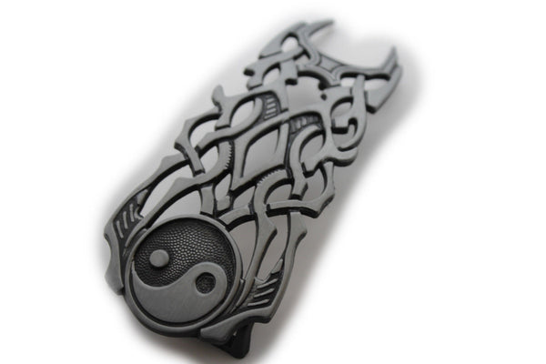 Antique Silver Yeng Yang Symbol Sign Tribal Fire Flame Long Belt Buckle Men Accessories