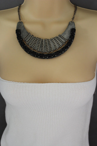 Antique Silver Metal Chain Black Bead Vintage Necklace New Women Fashion Jewelry Accessories