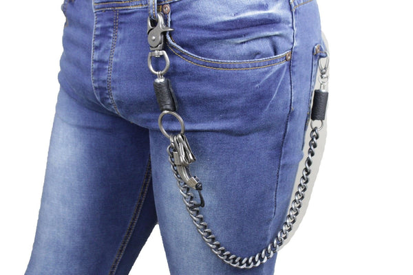 Antique Silver Metal Long Wallet Chains Horn Spike Skull Motorcycle Biker Rocker Men Accessories