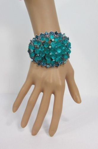 Silver Aqua Blue / Gold Brown Metal Bracelet Cuff  Flowers Beads Balls New Women Fashion Jewelry Accessories - alwaystyle4you - 6