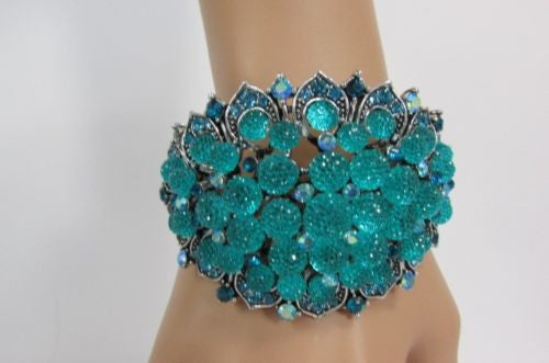 Silver Aqua Blue Gold Brown Bracelet Cuff  Flowers Beads Balls Women Fashion Jewelry Accessories