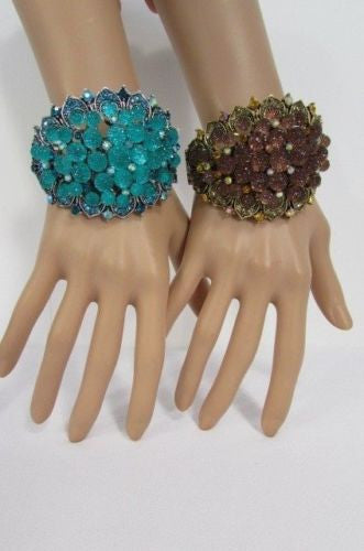 Silver Aqua Blue / Gold Brown Metal Bracelet Cuff  Flowers Beads Balls New Women Fashion Jewelry Accessories - alwaystyle4you - 1