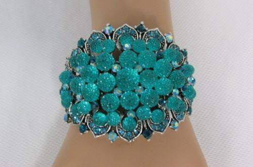 Silver Aqua Blue / Gold Brown Metal Bracelet Cuff  Flowers Beads Balls New Women Fashion Jewelry Accessories - alwaystyle4you - 7