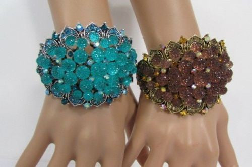 Silver Aqua Blue / Gold Brown Metal Bracelet Cuff  Flowers Beads Balls New Women Fashion Jewelry Accessories - alwaystyle4you - 17