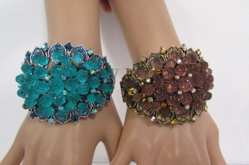 Silver Aqua Blue / Gold Brown Metal Bracelet Cuff  Flowers Beads Balls New Women Fashion Jewelry Accessories - alwaystyle4you - 22