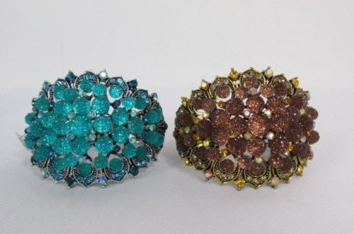 Silver Aqua Blue / Gold Brown Metal Bracelet Cuff  Flowers Beads Balls New Women Fashion Jewelry Accessories - alwaystyle4you - 20