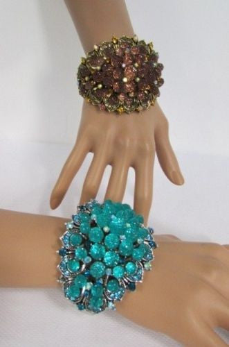 Silver Aqua Blue / Gold Brown Metal Bracelet Cuff  Flowers Beads Balls New Women Fashion Jewelry Accessories - alwaystyle4you - 2