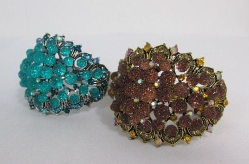Silver Aqua Blue / Gold Brown Metal Bracelet Cuff  Flowers Beads Balls New Women Fashion Jewelry Accessories - alwaystyle4you - 21