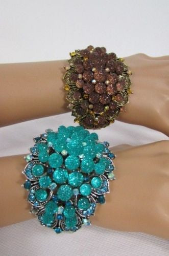 Silver Aqua Blue / Gold Brown Metal Bracelet Cuff  Flowers Beads Balls New Women Fashion Jewelry Accessories - alwaystyle4you - 4