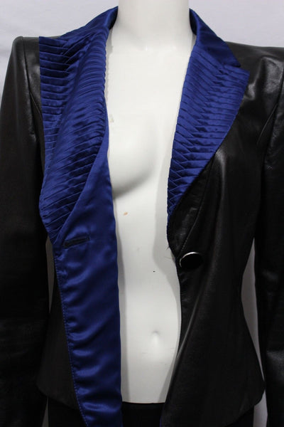 Black Leather Jacket Short Coat Blue Lapel Silk Armani Collezioni Women New Fashion Size Medium