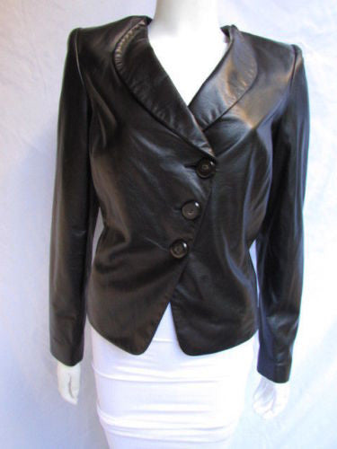 Black Leather Purple Lambskin Soft Jacket Armani Collezioni Women New Elegant Fashion Size 10 / 44