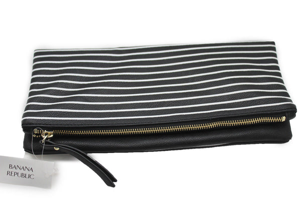 Black White Stripes New Purse Clutch Bag Faux Leather Banana Republic Women Fashion