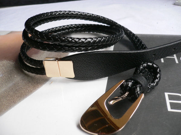 4 Colors Faux Leather Narrow Skinny Braided Belt Gold Buckle New Women Fashion Accessories M-L