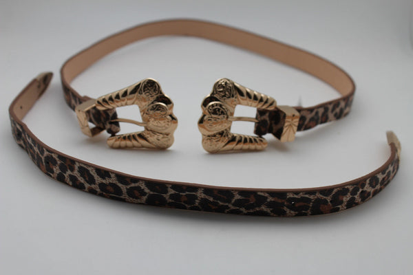 Beige Brown Black Animal Print Faux Leather Western Style Belt Double Gold Metal Buckles New Women Fashion Accessories S M - alwaystyle4you - 11