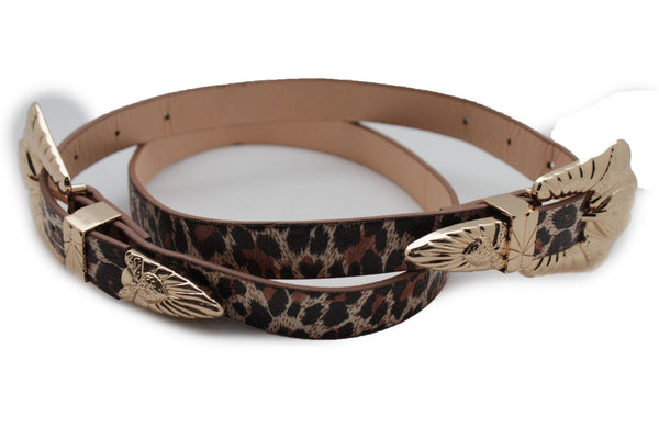 Beige Brown Black Animal Print Faux Leather Western Style Belt Double Gold Metal Buckles New Women Fashion Accessories S M - alwaystyle4you - 7