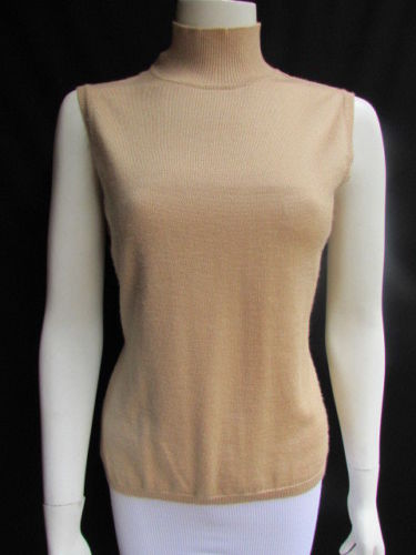 Beige Tan Cashmere Turtleneck Sleeveless Sweater Knit Top Bill Blass Women Size Medium