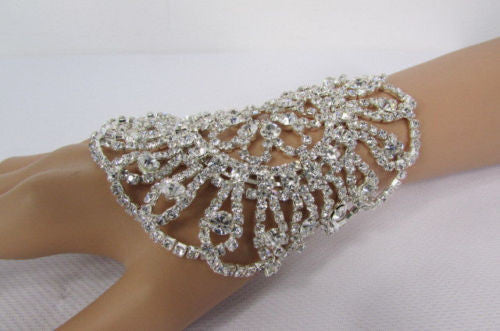 Big Flower Rhineston Women Silver Metal Round Wide Lace Wrist Bracelet Jewelry - alwaystyle4you - 3