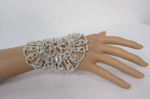 Big Flower Rhineston Women Silver Metal Round Wide Lace Wrist Bracelet Jewelry - alwaystyle4you - 6