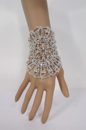 Big Flower Rhineston Women Silver Metal Round Wide Lace Wrist Bracelet Jewelry - alwaystyle4you - 7