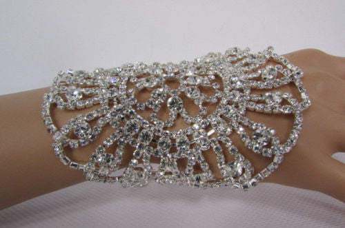 Big Flower Rhineston Women Silver Metal Round Wide Lace Wrist Bracelet Jewelry - alwaystyle4you - 9