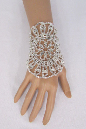Big Flower Rhineston Women Silver Metal Round Wide Lace Wrist Bracelet Jewelry - alwaystyle4you - 12