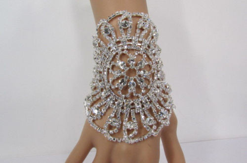 Big Flower Rhineston Women Silver Metal Round Wide Lace Wrist Bracelet Jewelry - alwaystyle4you - 1