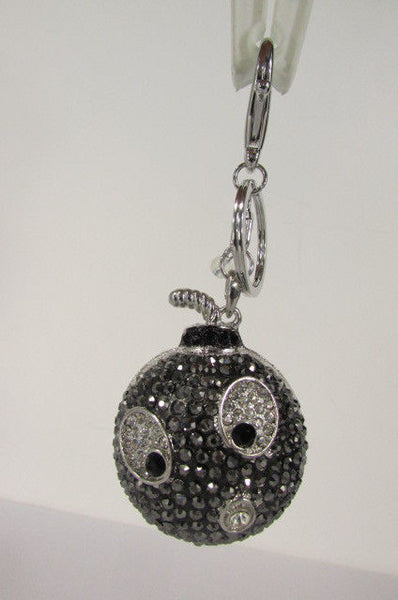Big Silver Bird Metal Key Chain Wallet Charm Black Angry Boom Rhinestones Large - alwaystyle4you - 5