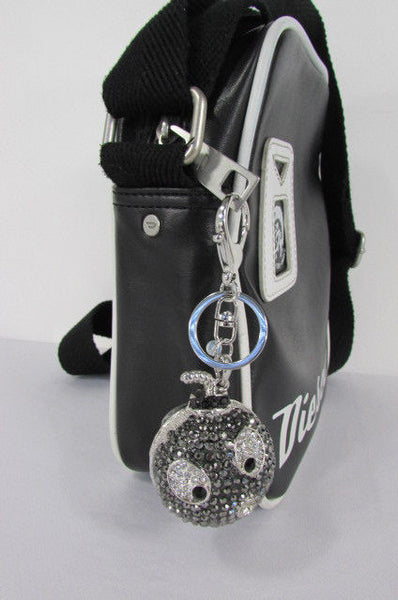 Big Silver Bird Metal Key Chain Wallet Charm Black Angry Boom Rhinestones Large - alwaystyle4you - 6