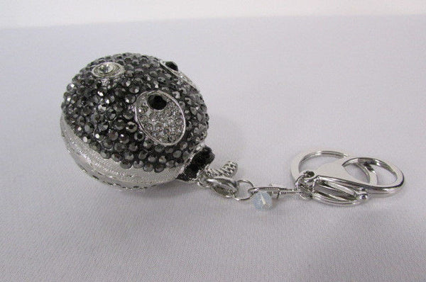 Big Silver Bird Metal Key Chain Wallet Charm Black Angry Boom Rhinestones Large - alwaystyle4you - 7