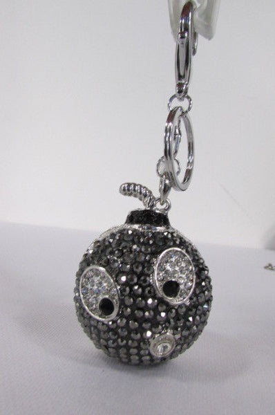 Big Silver Bird Metal Key Chain Wallet Charm Black Angry Boom Rhinestones Large - alwaystyle4you - 8