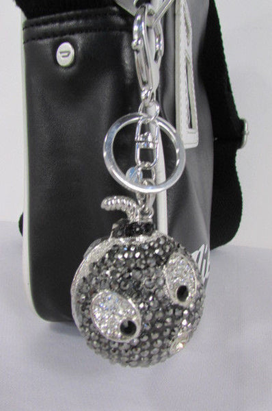Big Silver Bird Metal Key Chain Wallet Charm Black Angry Boom Rhinestones Large - alwaystyle4you - 1