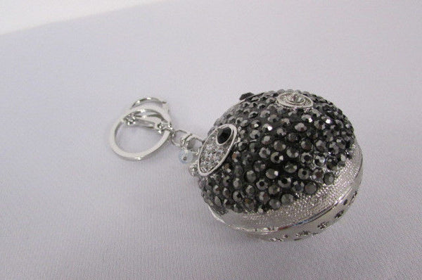 Big Silver Bird Metal Key Chain Wallet Charm Black Angry Boom Rhinestones Large - alwaystyle4you - 2