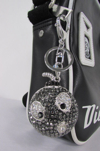 Big Silver Bird Metal Key Chain Wallet Charm Black Angry Boom Rhinestones Large - alwaystyle4you - 3