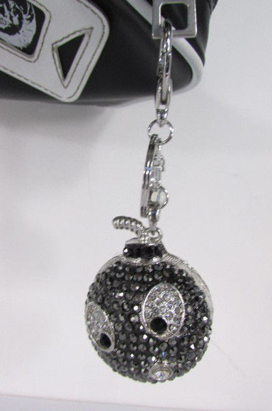 Big Silver Bird Metal Key Chain Wallet Charm Black Angry Boom Rhinestones Large - alwaystyle4you - 4
