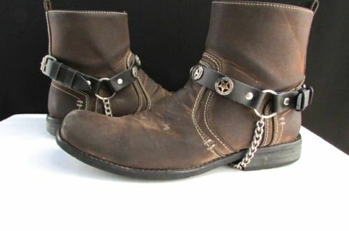 New Men Black Pair Leather Straps Silver Texas Star Boot Chain Bracelet Western Accessories Style