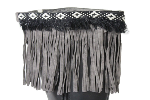 Black Beige Brown Gray Fringe Knee High Winter Boots Toppers White Cross Women Accessories