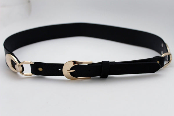 Beige Black Faux Leather Narrow Belt Gold Metal Buckle Hardware New Women Fashion Accessories M L - alwaystyle4you - 4