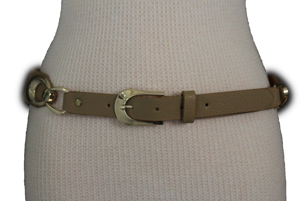 Beige Black Faux Leather Narrow Belt Gold Metal Buckle Hardware New Women Fashion Accessories M L - alwaystyle4you - 20