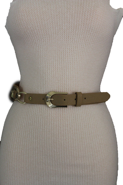 Beige Black Faux Leather Narrow Belt Gold Metal Buckle Hardware New Women Fashion Accessories M L - alwaystyle4you - 22
