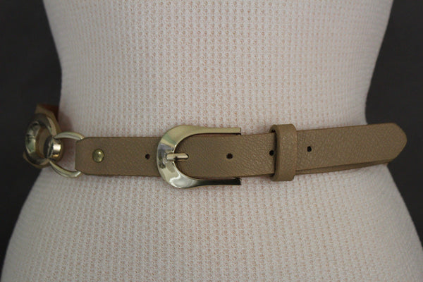 Beige Black Faux Leather Narrow Belt Gold Metal Buckle Hardware New Women Fashion Accessories M L - alwaystyle4you - 23