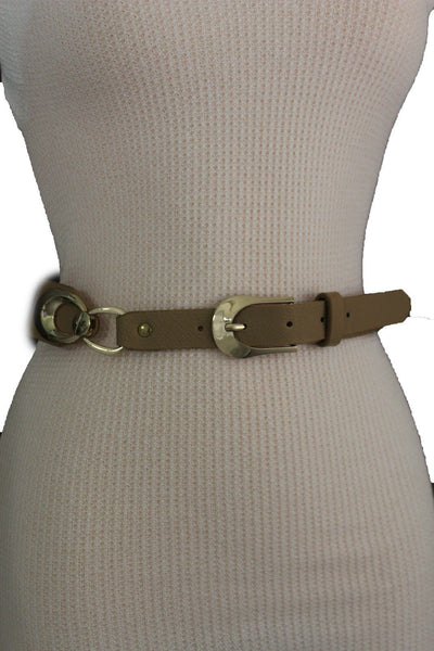 Beige Black Faux Leather Narrow Belt Gold Metal Buckle Hardware New Women Fashion Accessories M L - alwaystyle4you - 24