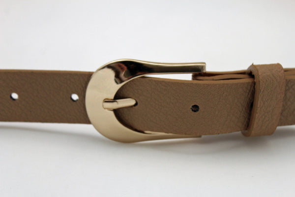Beige Black Faux Leather Narrow Belt Gold Metal Buckle Hardware New Women Fashion Accessories M L - alwaystyle4you - 3
