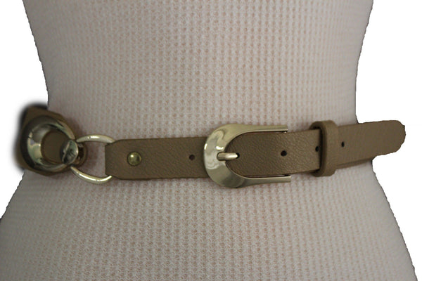 Beige Black Faux Leather Narrow Belt Gold Metal Buckle Hardware New Women Fashion Accessories M L - alwaystyle4you - 1