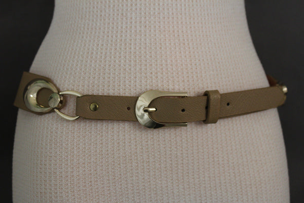 Beige Black Faux Leather Narrow Belt Gold Metal Buckle Hardware New Women Fashion Accessories M L - alwaystyle4you - 7