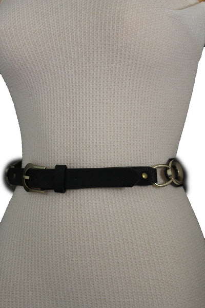 Beige Black Faux Leather Narrow Belt Gold Metal Buckle Hardware New Women Fashion Accessories M L - alwaystyle4you - 13