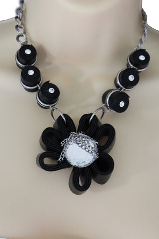 Black Big Fabric Flower Multi Circle Beads Earring Silver Chain Necklace New Women Fashion Jewelry Accessories