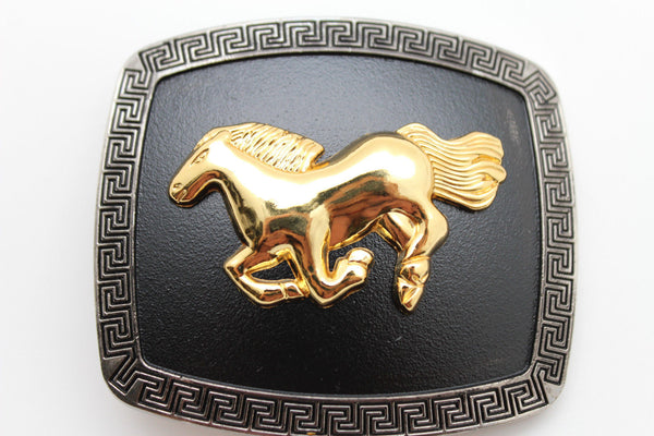 Black Bling Square Silver Metal Cowboy Gold Rodeo Horse Western Belt Buckle Men Accessories