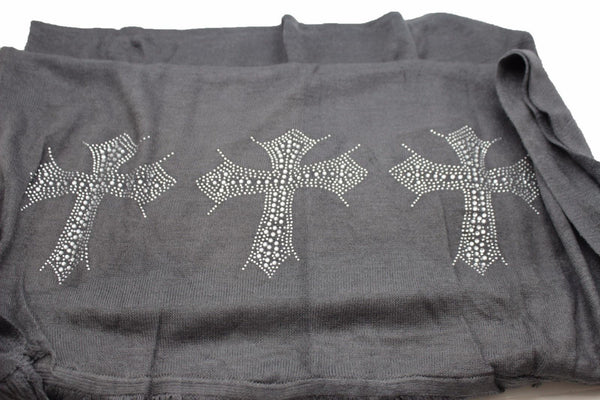 Gray Black Brown Long Scarf Fabric Wrap Cross Scarves Silver Rhinestones Women Accessories