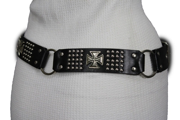 Black Faux Leather Biker Style Belt Silver Buckle Iron Cross New Women Fashion Accessories S M L XL - alwaystyle4you - 6